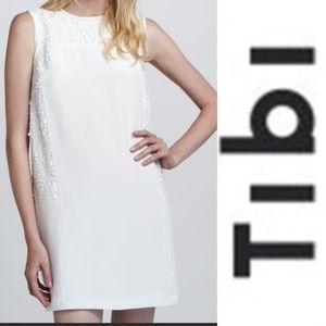 TIBI White/Cream Silk Sequin Dress